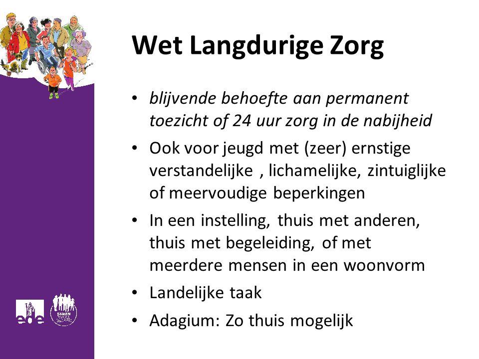 Wet Langdurige Zorg blijvende behoefte aan permanent toezicht of 24 uur zorg in de nabijheid Ook voor jeugd met (zeer) ernstige verstandelijke, licham