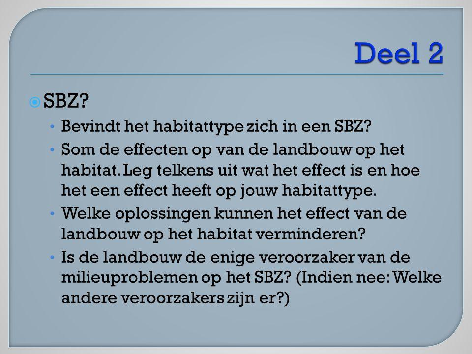  SBZ? Bevindt het habitattype zich in een SBZ? Som de effecten op van de landbouw op het habitat. Leg telkens uit wat het effect is en hoe het een ef
