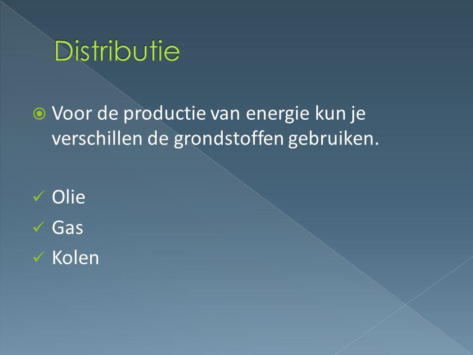  Voor de productie van energie kun je verschillen de grondstoffen gebruiken. Olie Gas Kolen