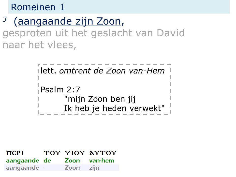 Romeinen 1 3 (aangaande zijn Zoon, gesproten uit het geslacht van David naar het vlees, lett. omtrent de Zoon van-Hem Psalm 2:7