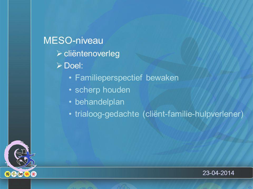 23-04-2014 MESO-niveau  cliëntenoverleg  Doel: Familieperspectief bewaken scherp houden behandelplan trialoog-gedachte (cliënt-familie-hulpverlener)