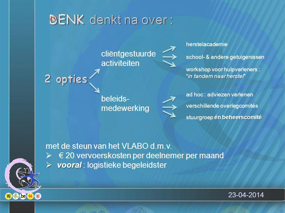"""cliëntgestuurde activiteiten herstelacademie workshop voor hulpverleners : in tandem naar herstel """"in tandem naar herstel"""" ad hoc : adviezen verlenen"""