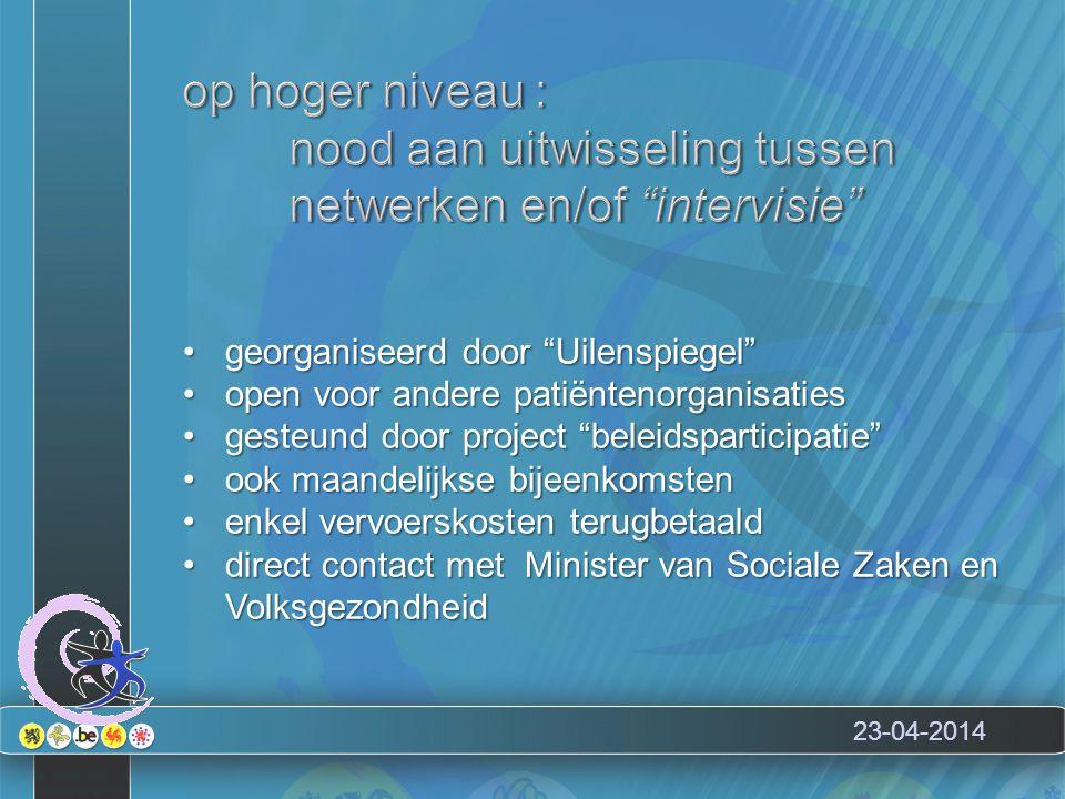 """23-04-2014 georganiseerd door """"Uilenspiegel""""georganiseerd door """"Uilenspiegel"""" open voor andere patiëntenorganisatiesopen voor andere patiëntenorganisa"""