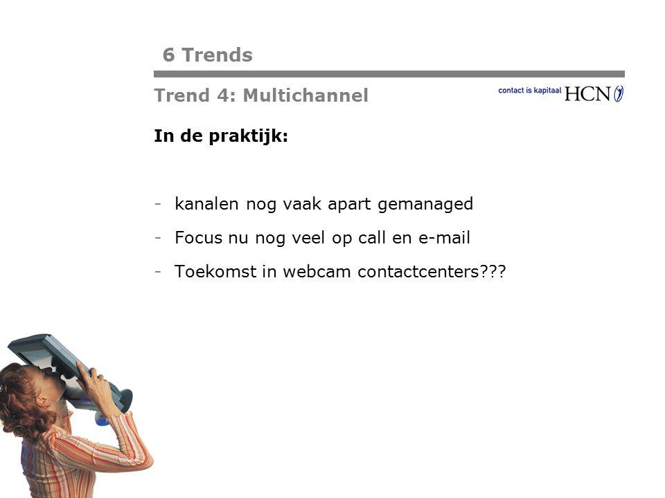 Pagina In de praktijk: - kanalen nog vaak apart gemanaged - Focus nu nog veel op call en e-mail - Toekomst in webcam contactcenters??? 6 Trends Trend