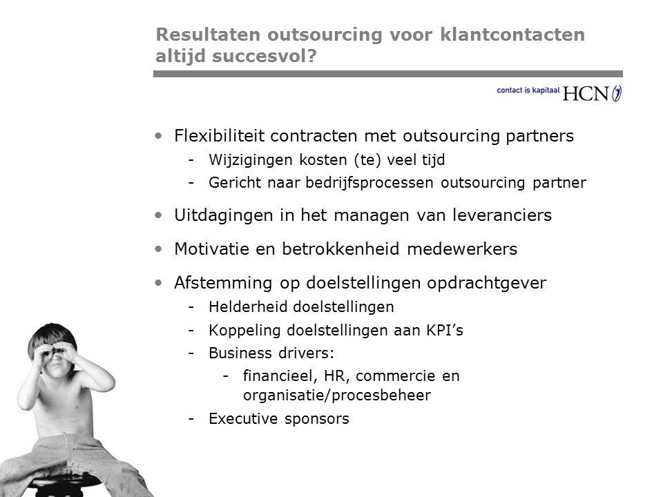 Pagina Flexibiliteit contracten met outsourcing partners -Wijzigingen kosten (te) veel tijd -Gericht naar bedrijfsprocessen outsourcing partner Uitdag