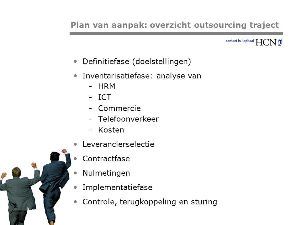 Pagina Definitiefase (doelstellingen) Inventarisatiefase: analyse van -HRM -ICT -Commercie -Telefoonverkeer -Kosten Leverancierselectie Contractfase N