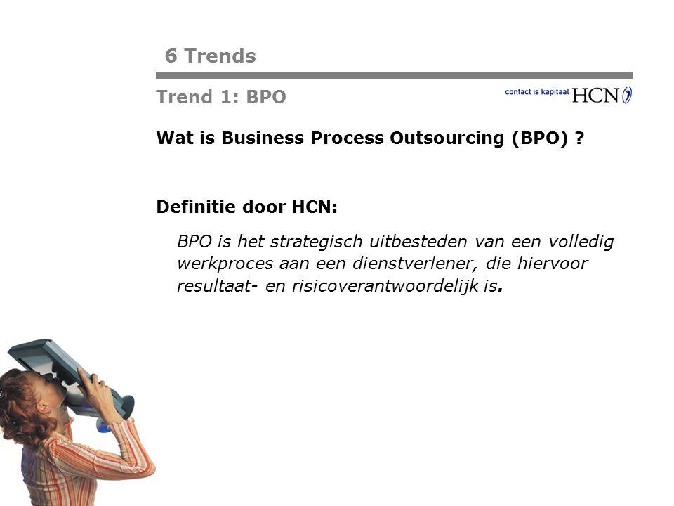 Pagina Trend 1: BPO Wat is Business Process Outsourcing (BPO) ? Definitie door HCN: BPO is het strategisch uitbesteden van een volledig werkproces aan