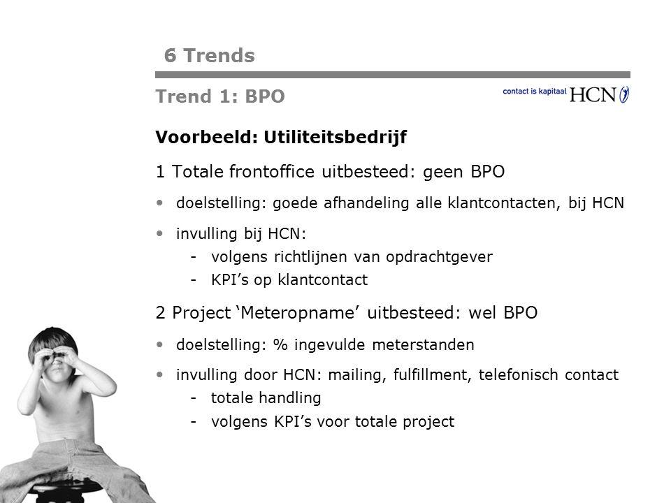 Pagina Voorbeeld: Utiliteitsbedrijf 1 Totale frontoffice uitbesteed: geen BPO doelstelling: goede afhandeling alle klantcontacten, bij HCN invulling b