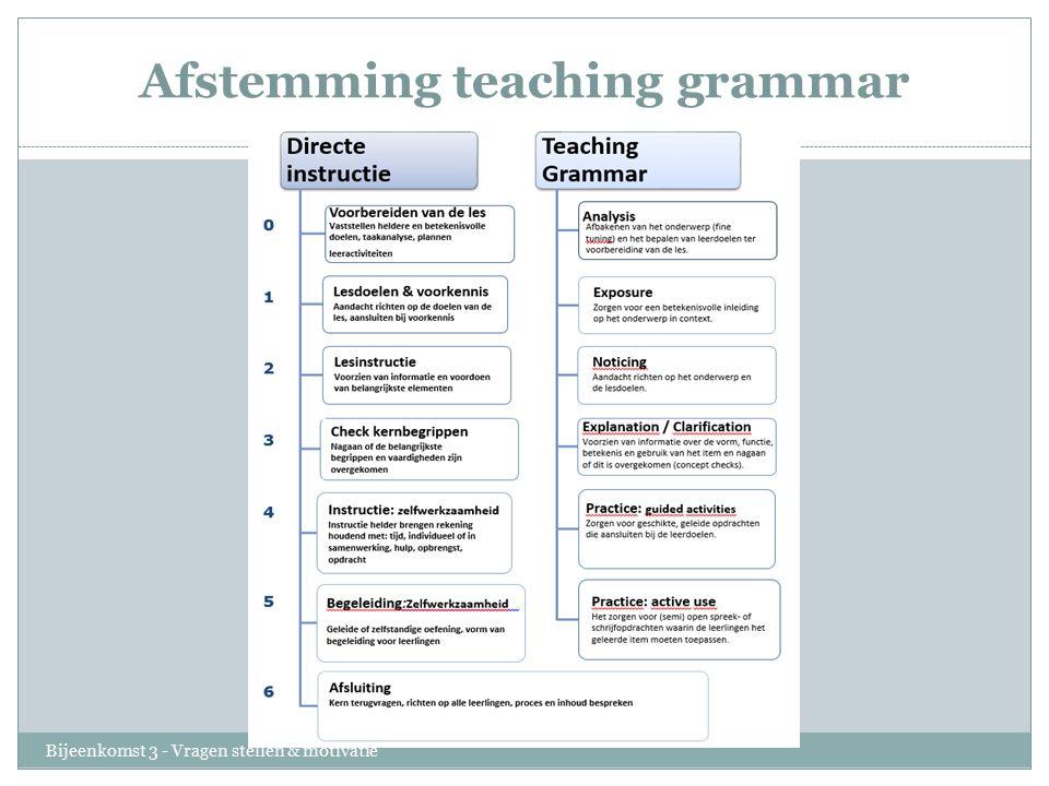 Afstemming teaching grammar Bijeenkomst 3 - Vragen stellen & motivatie