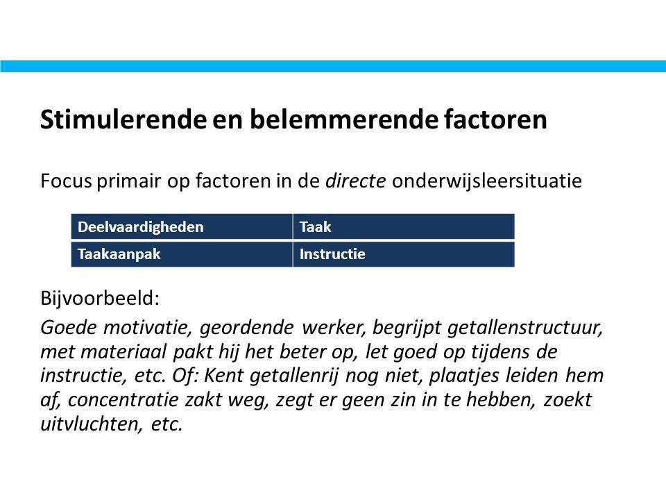Stimulerende en belemmerende factoren Focus primair op factoren in de directe onderwijsleersituatie Bijvoorbeeld: Goede motivatie, geordende werker, b