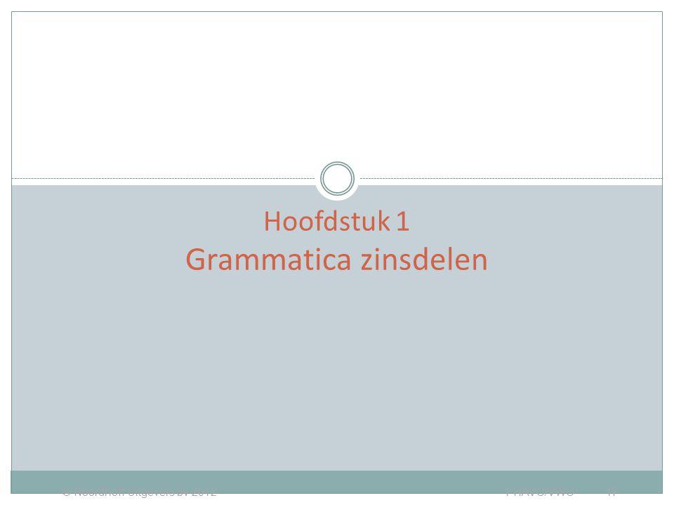 ZINSDELEN Hoofdstuk 1 Grammatica zinsdelen © Noordhoff Uitgevers bv 2012 1 HAVO/VWO 1F
