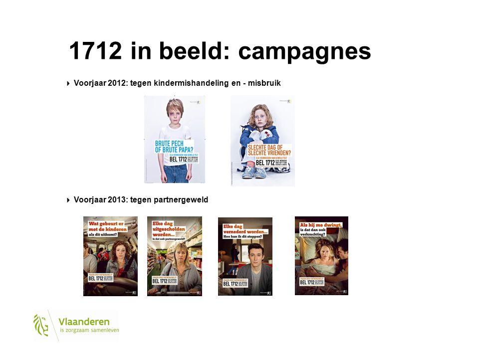 1712 in beeld: campagnes Voorjaar 2012: tegen kindermishandeling en - misbruik Voorjaar 2013: tegen partnergeweld