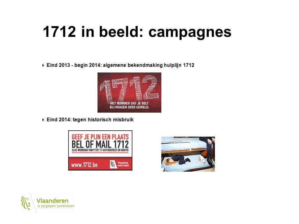 1712 in beeld: campagnes Eind 2013 - begin 2014: algemene bekendmaking hulplijn 1712 Eind 2014: tegen historisch misbruik