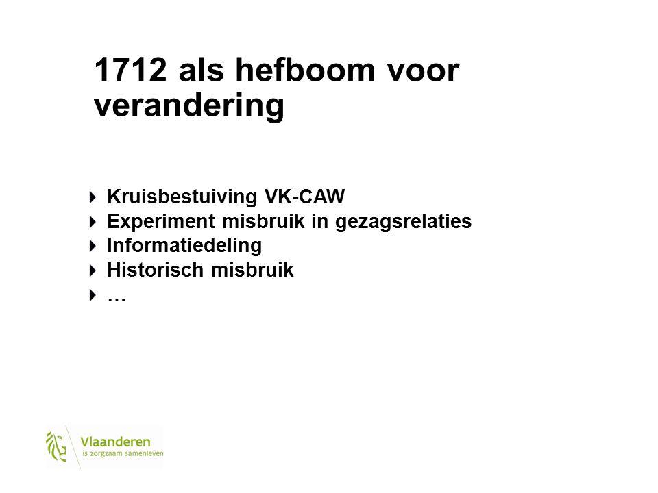 1712 als hefboom voor verandering Kruisbestuiving VK-CAW Experiment misbruik in gezagsrelaties Informatiedeling Historisch misbruik …