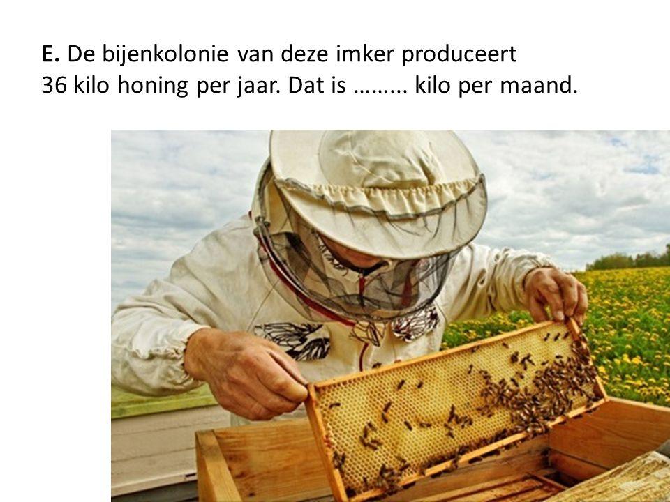 E. De bijenkolonie van deze imker produceert 36 kilo honing per jaar. Dat is ……... kilo per maand.