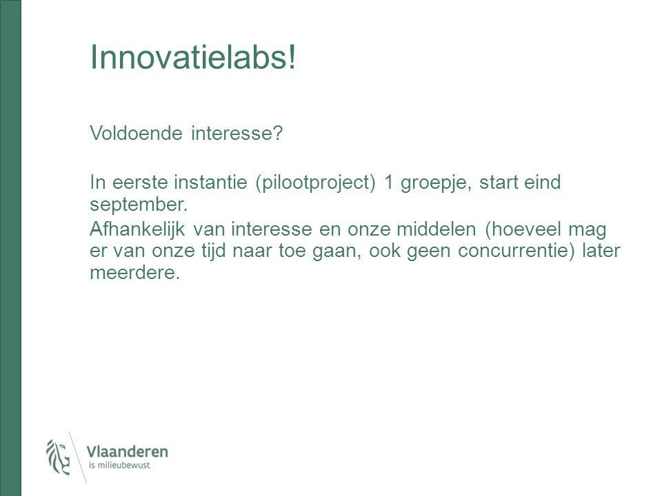 Innovatielabs! Voldoende interesse? In eerste instantie (pilootproject) 1 groepje, start eind september. Afhankelijk van interesse en onze middelen (h