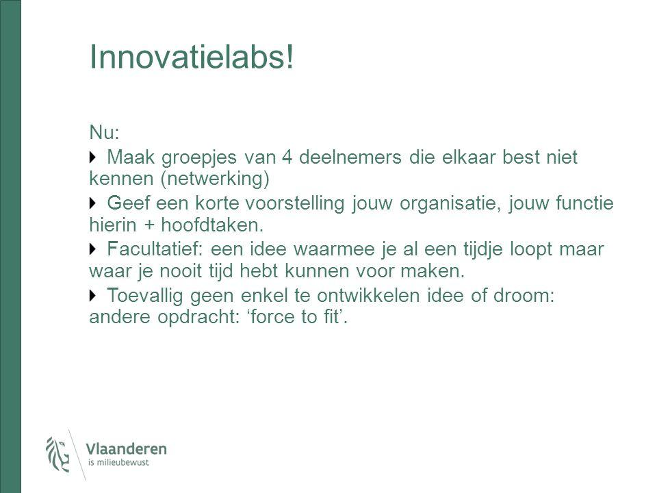 Innovatielabs! Nu: Maak groepjes van 4 deelnemers die elkaar best niet kennen (netwerking) Geef een korte voorstelling jouw organisatie, jouw functie