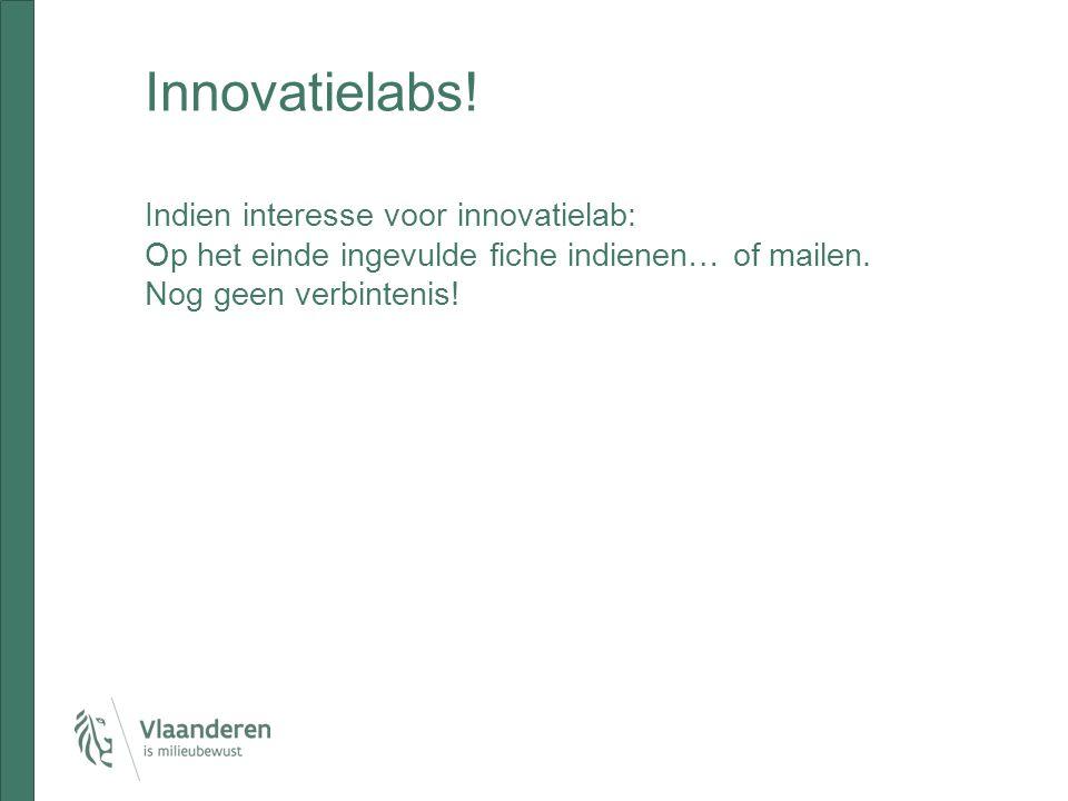 Innovatielabs! Indien interesse voor innovatielab: Op het einde ingevulde fiche indienen… of mailen. Nog geen verbintenis!