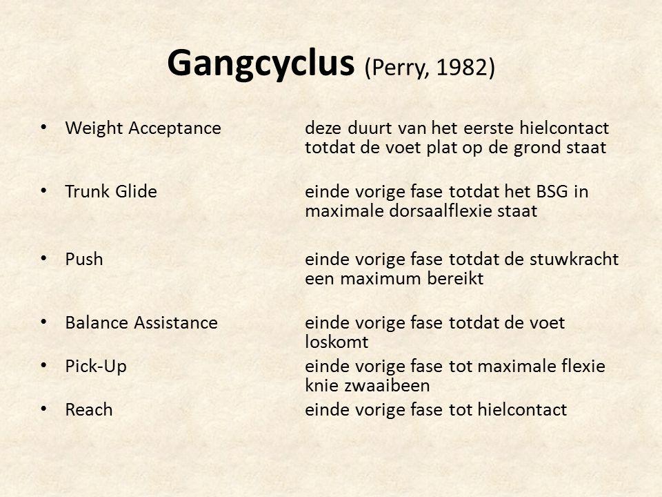 Gangcyclus (Perry, 1982) Weight Acceptance deze duurt van het eerste hielcontact totdat de voet plat op de grond staat Trunk Glide einde vorige fase t