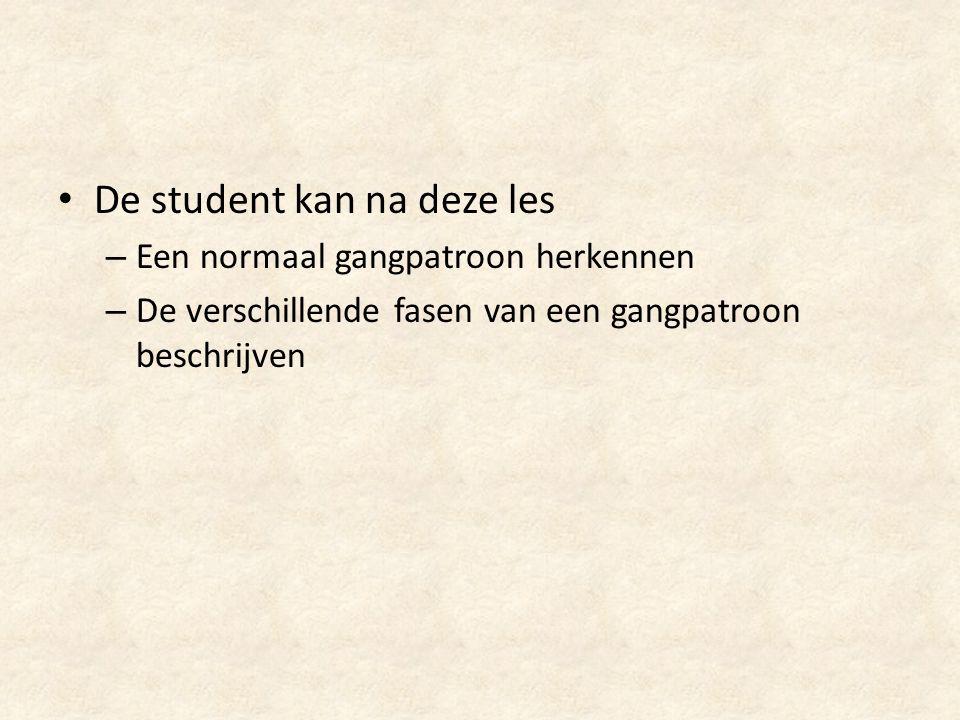 De student kan na deze les – Een normaal gangpatroon herkennen – De verschillende fasen van een gangpatroon beschrijven