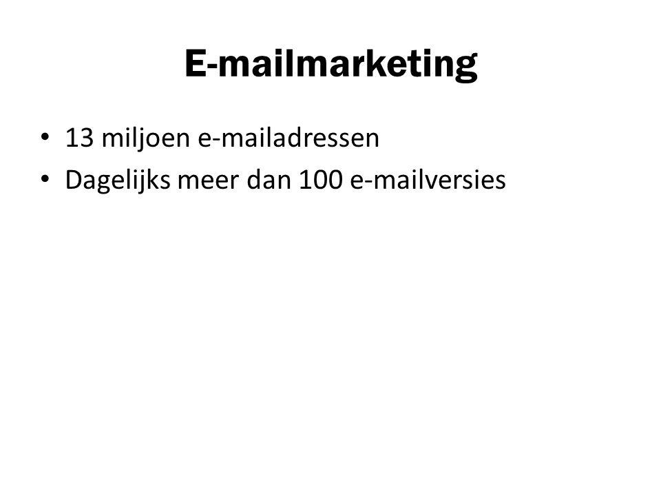 E-mailmarketing 13 miljoen e-mailadressen Dagelijks meer dan 100 e-mailversies