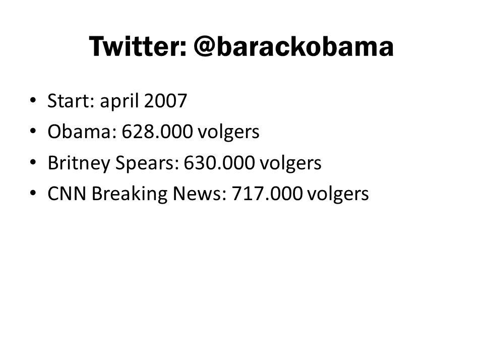 Twitter: @barackobama Start: april 2007 Obama: 628.000 volgers Britney Spears: 630.000 volgers CNN Breaking News: 717.000 volgers