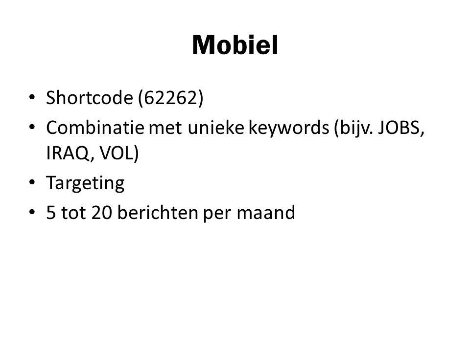 Mobiel Shortcode (62262) Combinatie met unieke keywords (bijv.