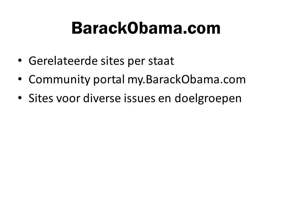 BarackObama.com Gerelateerde sites per staat Community portal my.BarackObama.com Sites voor diverse issues en doelgroepen