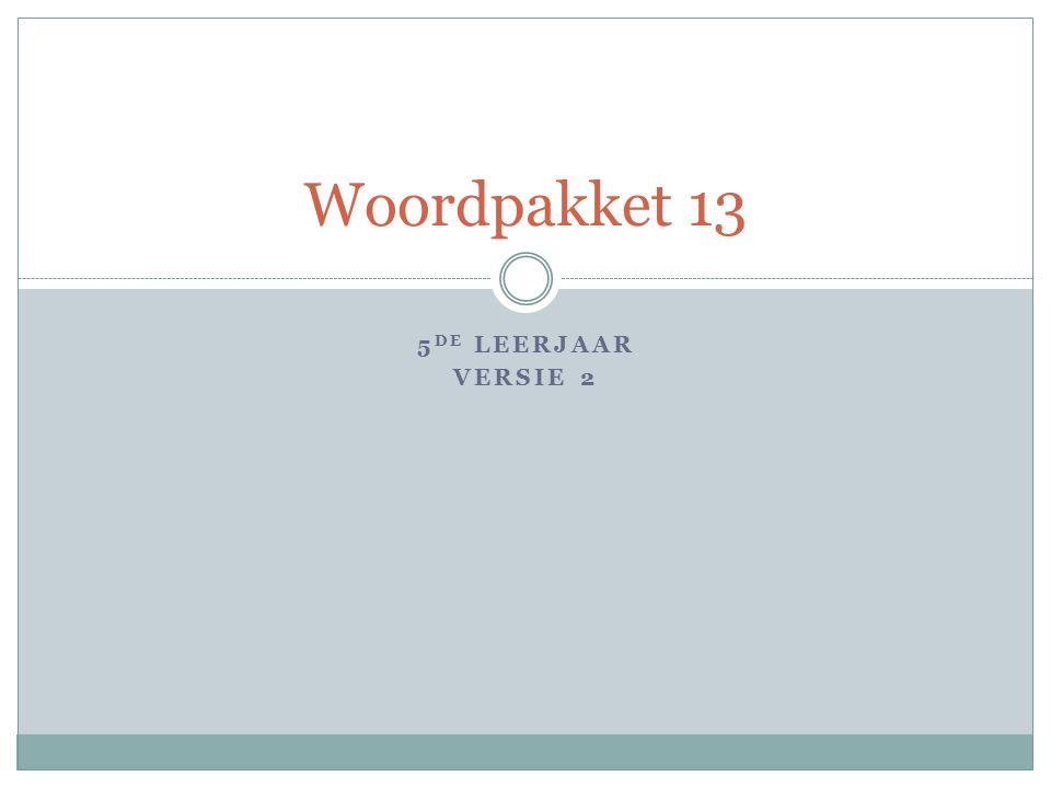 5 DE LEERJAAR VERSIE 2 Woordpakket 13