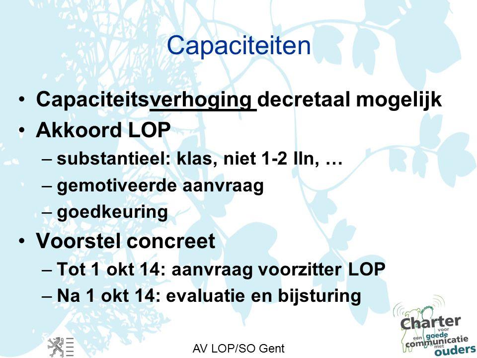 AV LOP/SO Gent Capaciteiten Capaciteitsverhoging decretaal mogelijk Akkoord LOP –substantieel: klas, niet 1-2 lln, … –gemotiveerde aanvraag –goedkeuring Voorstel concreet –Tot 1 okt 14: aanvraag voorzitter LOP –Na 1 okt 14: evaluatie en bijsturing