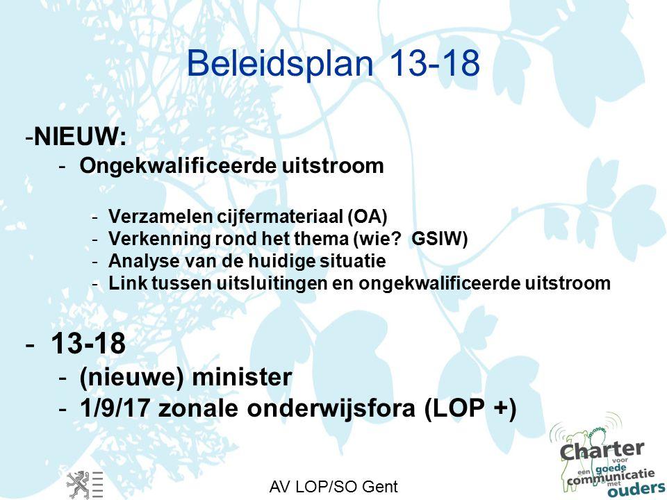 AV LOP/SO Gent Beleidsplan 13-18 -NIEUW: -Ongekwalificeerde uitstroom -Verzamelen cijfermateriaal (OA) -Verkenning rond het thema (wie.
