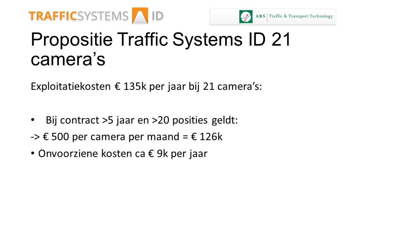 Propositie Traffic Systems ID 21 camera's Exploitatiekosten € 135k per jaar bij 21 camera's: Bij contract >5 jaar en >20 posities geldt: -> € 500 per