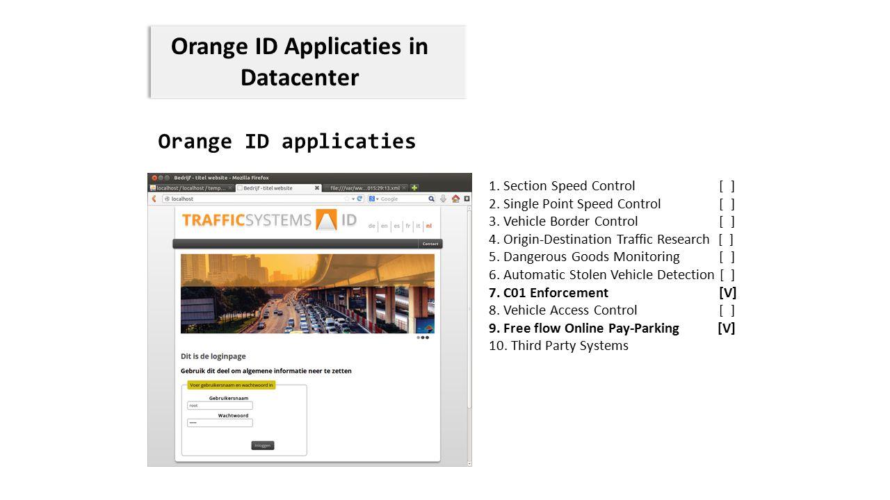 Orange ID Applicaties in Datacenter Orange ID applicaties 1. Section Speed Control [ ] 2. Single Point Speed Control [ ] 3. Vehicle Border Control [ ]
