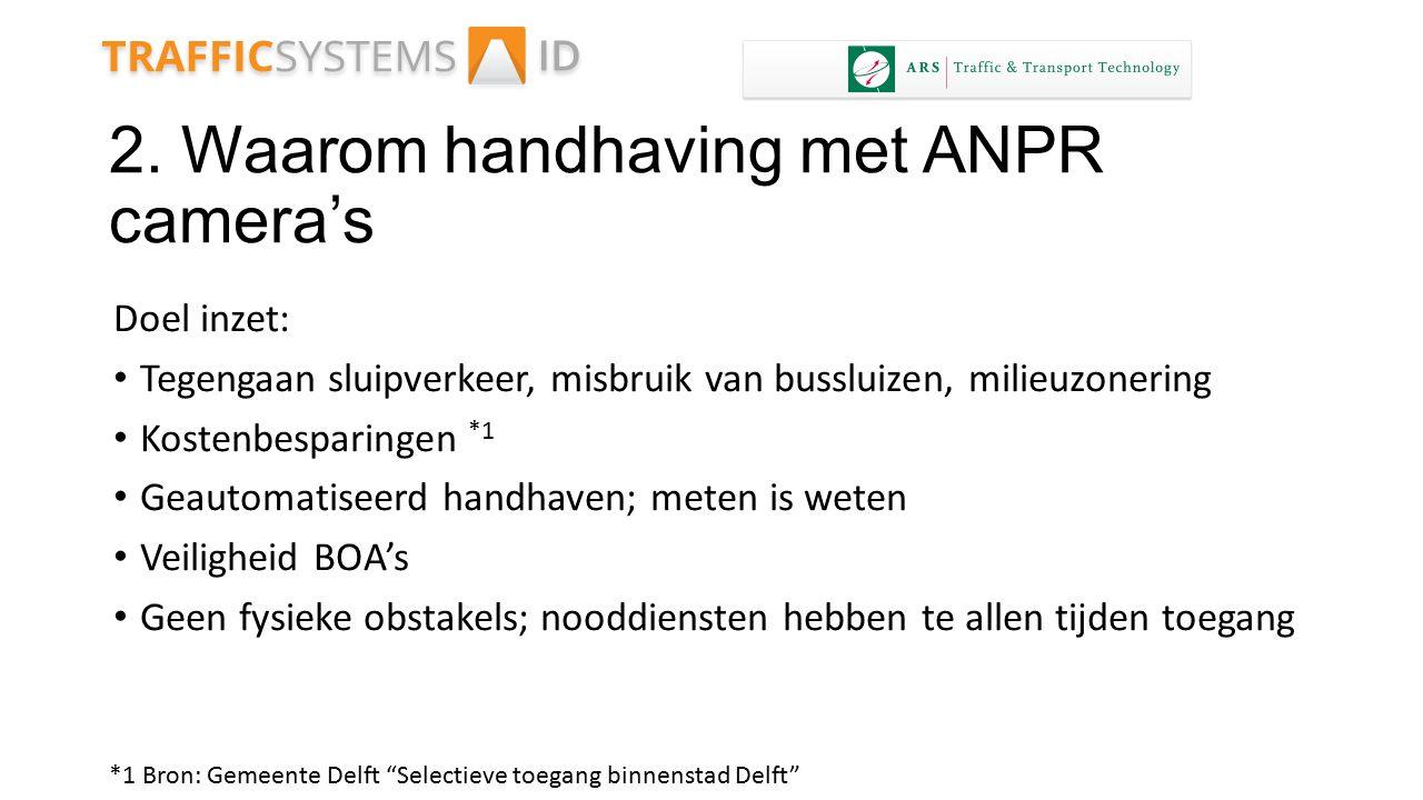 2. Waarom handhaving met ANPR camera's Doel inzet: Tegengaan sluipverkeer, misbruik van bussluizen, milieuzonering Kostenbesparingen Geautomatiseerd h
