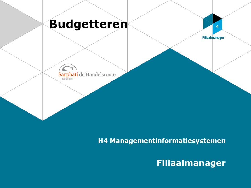 Budgetteren H4 Managementinformatiesystemen Filiaalmanager