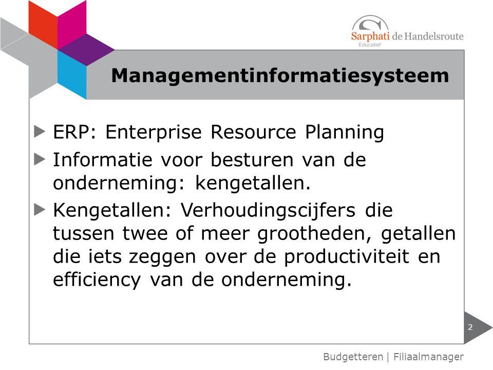 ERP: Enterprise Resource Planning Informatie voor besturen van de onderneming: kengetallen.