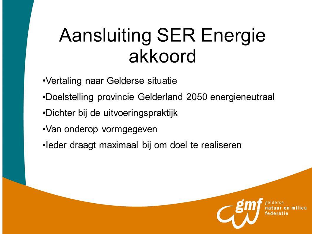 Aansluiting SER Energie akkoord Vertaling naar Gelderse situatie Doelstelling provincie Gelderland 2050 energieneutraal Dichter bij de uitvoeringsprak