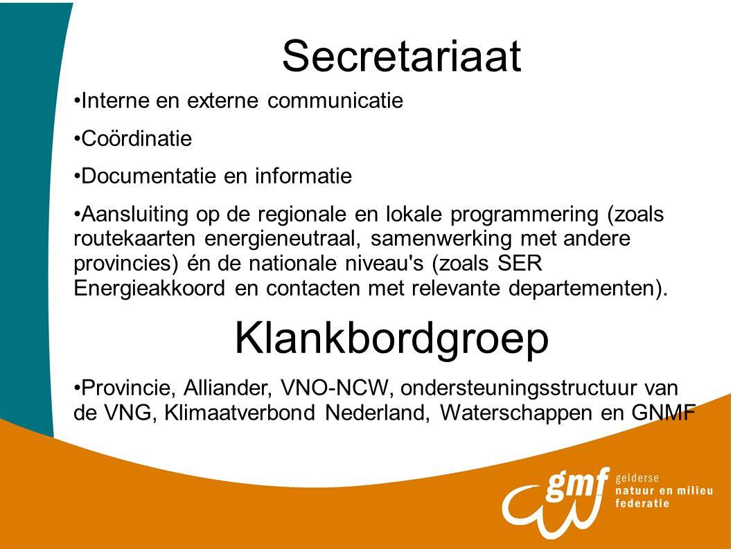 Secretariaat Interne en externe communicatie Coördinatie Documentatie en informatie Aansluiting op de regionale en lokale programmering (zoals routeka