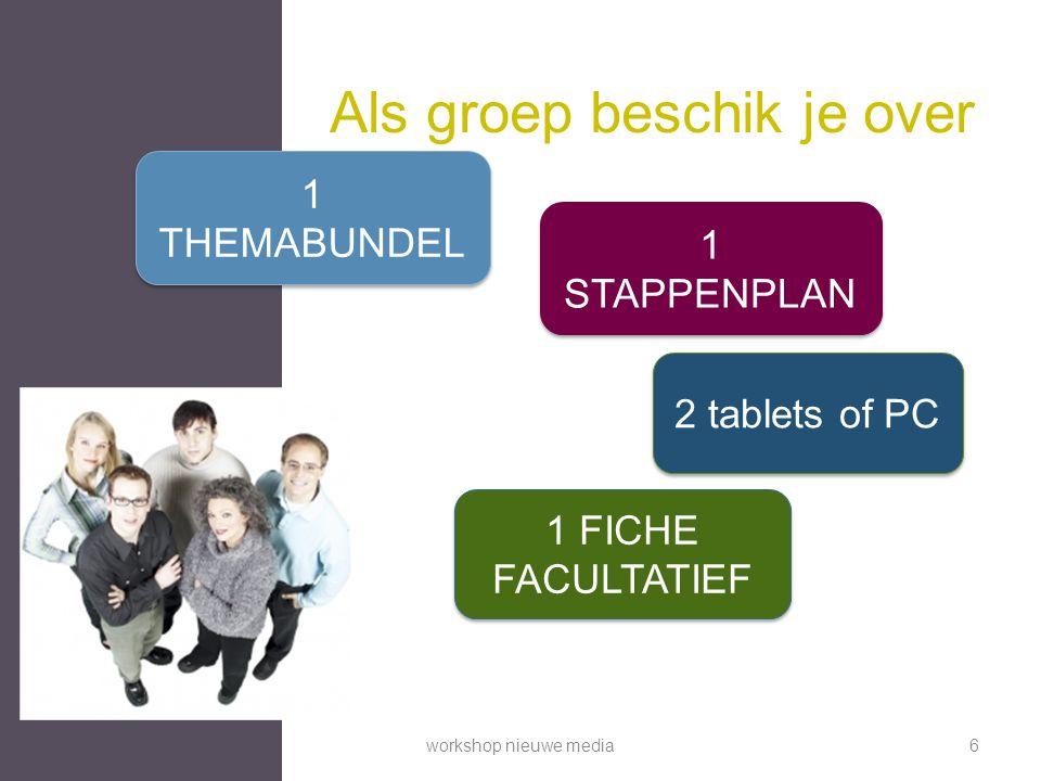 Als groep beschik je over 1 THEMABUNDEL 2 tablets of PC 1 STAPPENPLAN 1 FICHE FACULTATIEF workshop nieuwe media6