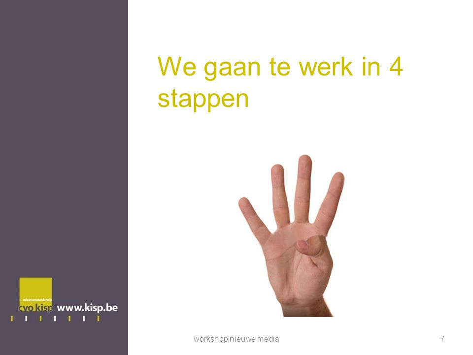 We gaan te werk in 4 stappen workshop nieuwe media7
