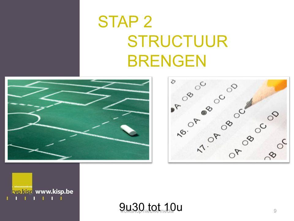 STAP 2 STRUCTUUR BRENGEN 9u30 tot 10u workshop nieuwe media9