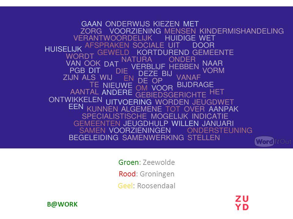 B@WORK Groen: Zeewolde Rood: Groningen Geel: Roosendaal