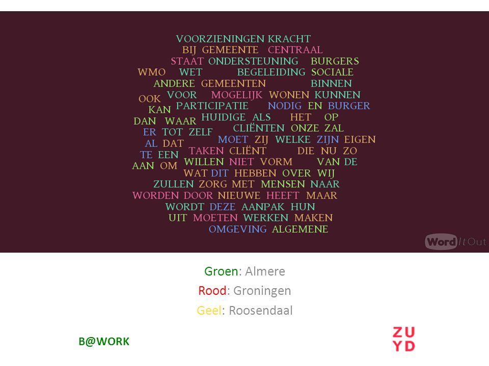 B@WORK Groen: Almere Rood: Groningen Geel: Roosendaal