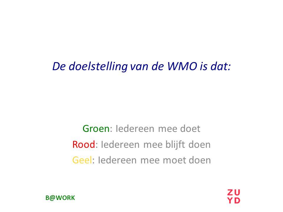 De doelstelling van de WMO is dat: Groen: Iedereen mee doet Rood: Iedereen mee blijft doen Geel: Iedereen mee moet doen B@WORK