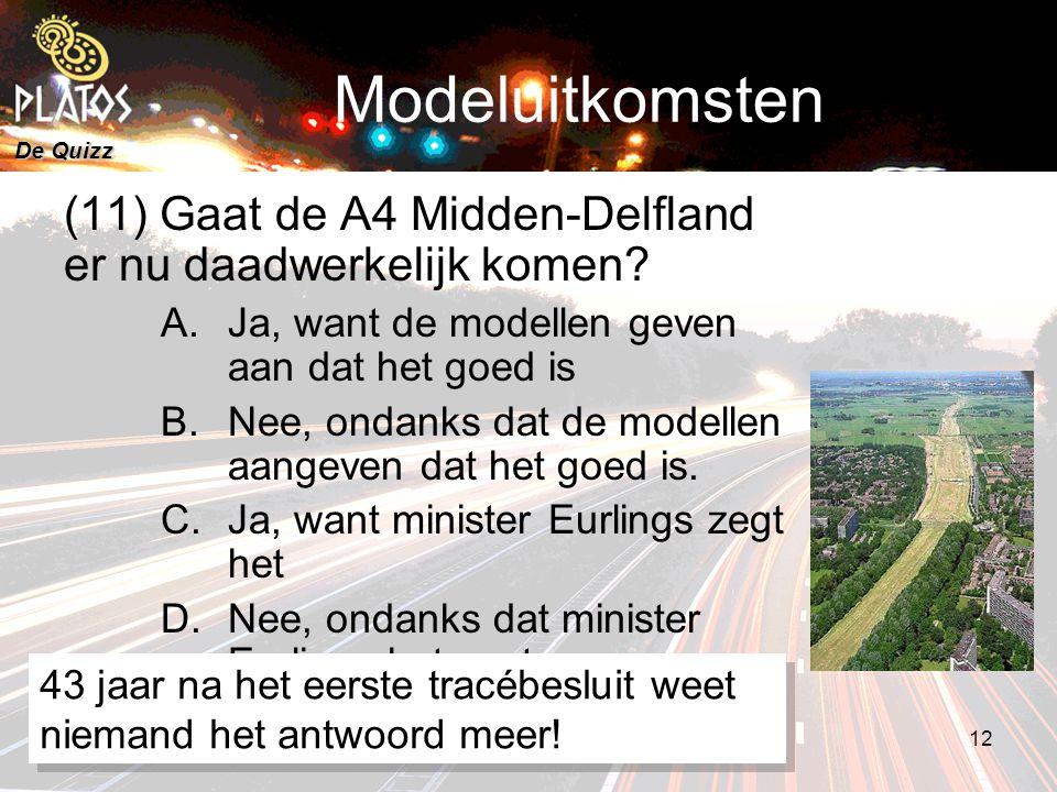 De Quizz 5 maart 20088e PLATOS colloquium, Rekenen aan Duurzaamheid 12 Modeluitkomsten (11) Gaat de A4 Midden-Delfland er nu daadwerkelijk komen.