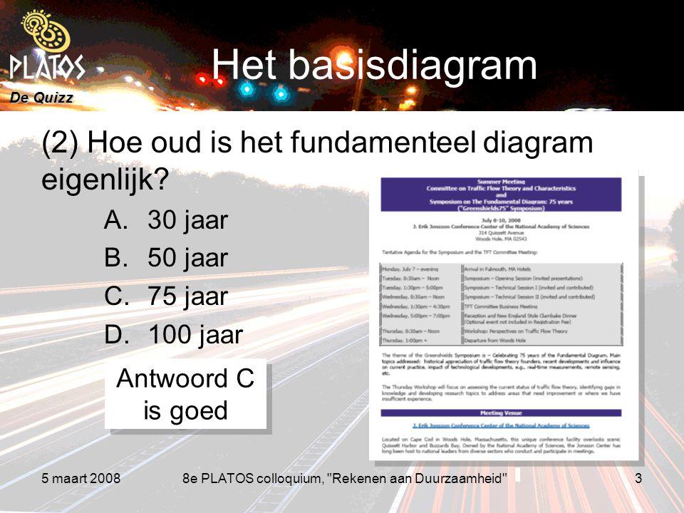 De Quizz 5 maart 20088e PLATOS colloquium, Rekenen aan Duurzaamheid 3 Het basisdiagram (2) Hoe oud is het fundamenteel diagram eigenlijk.