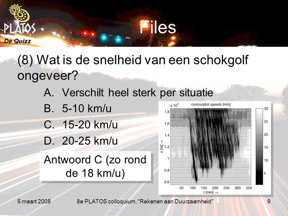 De Quizz 5 maart 20088e PLATOS colloquium, Rekenen aan Duurzaamheid 9 Files (8) Wat is de snelheid van een schokgolf ongeveer.