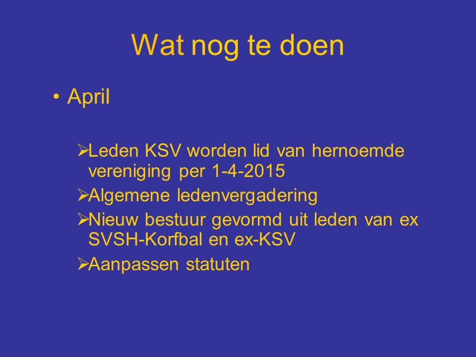 Wat nog te doen April  Leden KSV worden lid van hernoemde vereniging per 1-4-2015  Algemene ledenvergadering  Nieuw bestuur gevormd uit leden van e