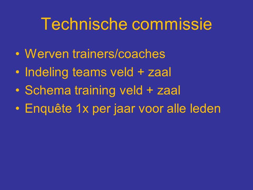 Technische commissie Werven trainers/coaches Indeling teams veld + zaal Schema training veld + zaal Enquête 1x per jaar voor alle leden