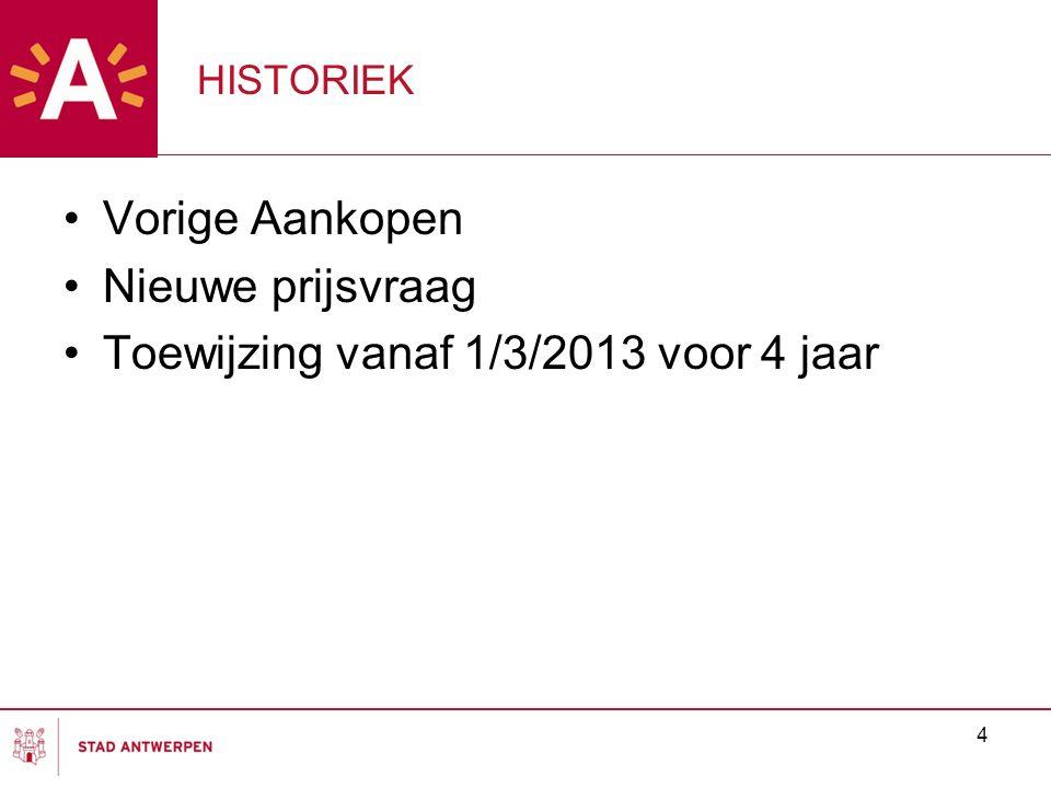 4 HISTORIEK Vorige Aankopen Nieuwe prijsvraag Toewijzing vanaf 1/3/2013 voor 4 jaar